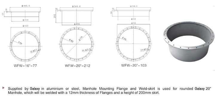Manhole Mounting Flanges And Weld Skirt Zhejiang Galaxy